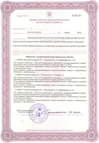 Приложение 1 к Лицензии №2