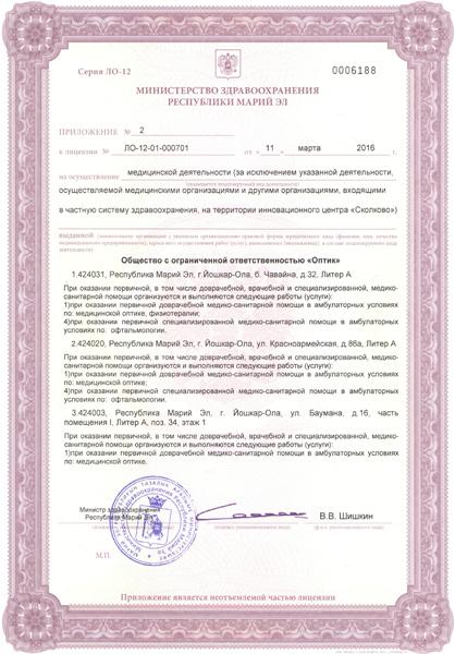 Приложение 2 к Лицензии №2